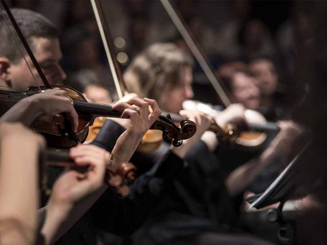 Symphony orchestra at home office